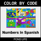 Numbers in Spanish - Color by Code / Coloring Pages - Pond Life