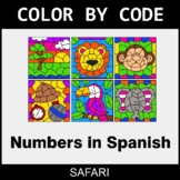 Numbers in Spanish - Color by Code / Coloring Pages - Safari