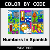 Numbers in Spanish - Color by Code / Coloring Pages - Weather