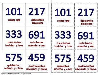 Numbers in Spanish - Hundreds. Lottery (Board Game).