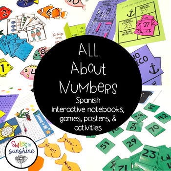 Numbers in Spanish: Includes games, activities, interactive notebooks, & posters