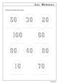 Numbers in Spanish - Los Números 10-100 - Activity Pack