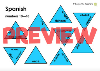 Numbers in Spanish Tarsia Puzzle Activity