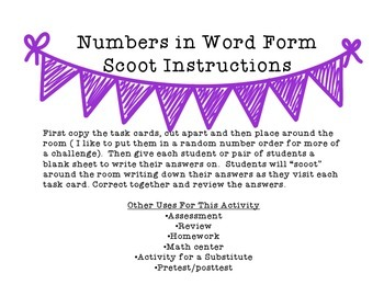 Numbers in Word Form SCOOT {FREEBIE}