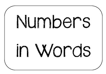 Numbers in Words BONUS Place Value Cards