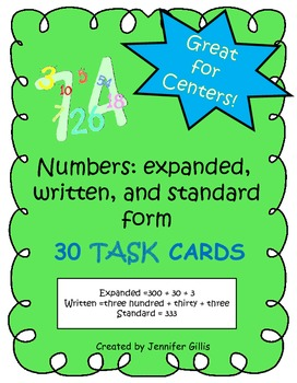 Numbers in expanded, written, and standard form TASK CARDS