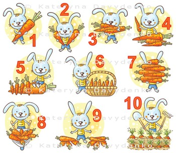 Numbers in pictures set, rabbit and his carrots