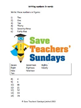 Numbers in words lesson plans, worksheets and other teachi