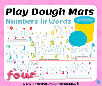 Numbers in words play dough mats