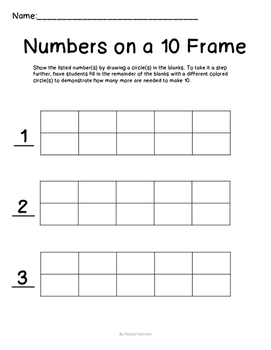 Numbers on a Ten Frame