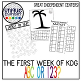First Week of KDG- Numbers or Letters? ABC or 123?