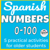 Spanish numbers worksheets (increments of 20)
