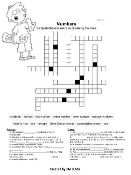Numbers (prime, composite, odd, even) crossword puzzle and word search