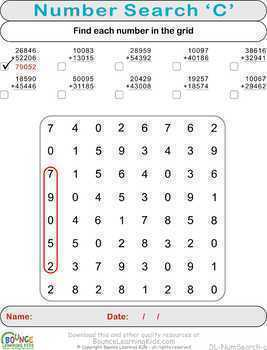 Numbers search (12 distance learning worksheets for Numeracy)