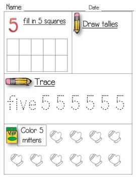 Numbers - ten frame, tally, trace and color
