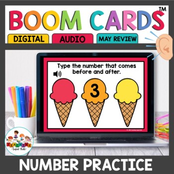 Numbers that come before and after May Boom Math Cards