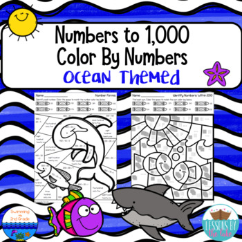 Numbers to 1,000 Color By Numbers {Ocean Themed}