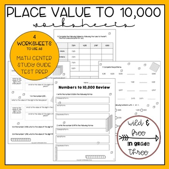 Numbers to 10,000 Place Value Study Guide Printable Worksheets