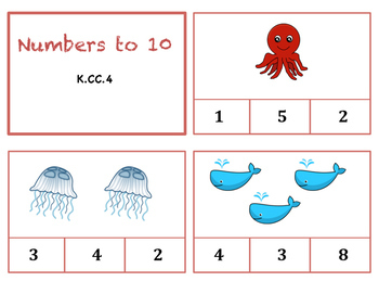 Numbers to 10 Clip Cards - Ocean Themed