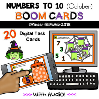 Numbers to 10 Digital BOOM Task Cards (October Theme)