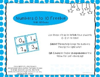 Numbers to 10 Freebie with QR Codes