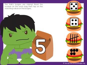 Numbers to 10 Matching Counting Subitizing Superhero Theme