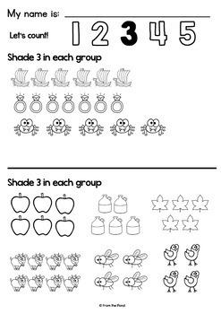 Kindergarten Number Worksheets for Number Sense