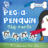 Peg a Penguin Numbers to 10 Subitizing Clip Cards