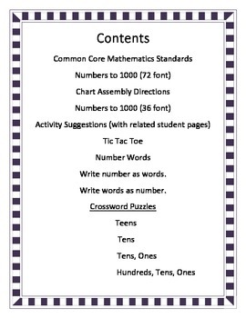 Numbers to 1000:  Large Wall Chart Plus Activities