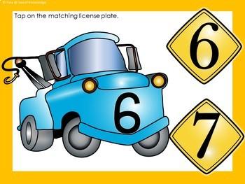 Numbers to 12 Visual Discrimination Cars Theme Boom Digital Slides
