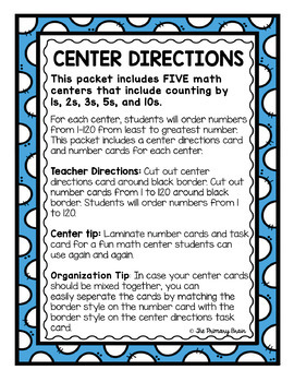 Numbers to 120 - Math Center for Ordering Numbers by 1, 2, 3, 5, and 10
