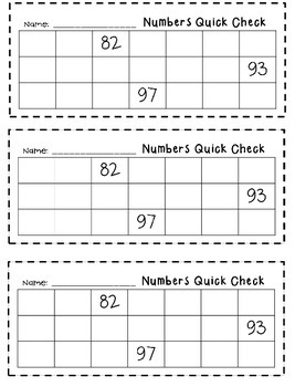 Numbers to 120 Quick Checks for Math Journals