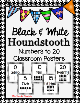 Numbers to 20 Black and White Houndstooth Pattern Posters