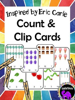 Numbers to 20 Count and Clip Cards - Eric Carle Inspired Theme