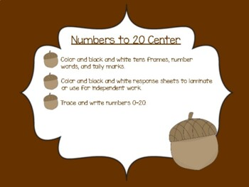 Numbers to 20 Center for fall!
