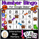 Numbers to 20 Interactive Bingo Game for Google Slides™