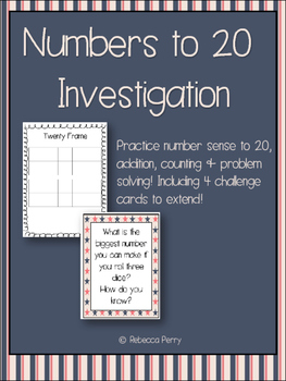 Numbers to 20 Investigation - Math Center - Addition, Problems, Number Sense!