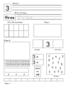 Numbers to 20 Journal