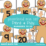 Numbers to 20 Math Center Game {Gingerbread Sort}