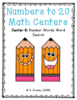 Numbers to 20 Math Centers (Center 6) - Number Words Word Search