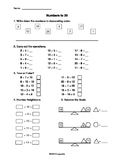 Numbers to 20 Math Test