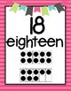 Numbers to 20 Pink Stripe Pattern Posters