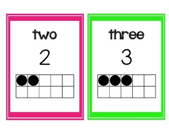 Numbers to 20 Posters with Tens Frames~Pink and Green