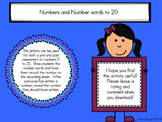 Numbers to 20 Pre-Assessment, Post-Assessment, or Review