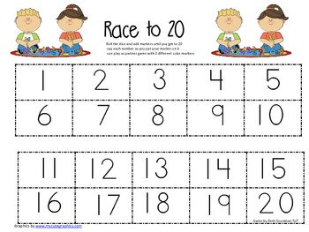 Numbers to 20-Race to 20- Four Differentiated Game Boards