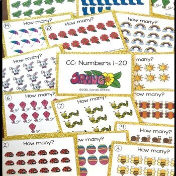 Numbers to 20 ~  Spring Math Center ~ Task Cards SCOOT