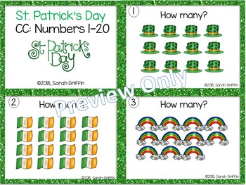 Numbers to 20 ~  St. Patrick's Day Math Center ~ Task Cards SCOOT