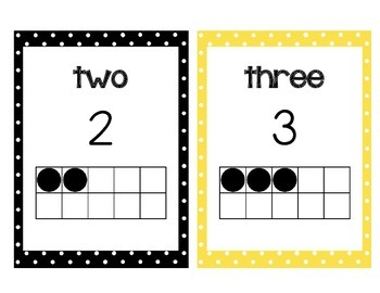 Numbers to 20 posters with tens frames! Yellow and black polka dot!