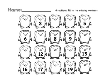 Numbers to 20 : ID, order, trace, write, tens frames (with a winter theme!)