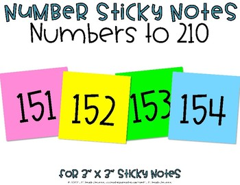 Numbers to 210 Sticky Notes